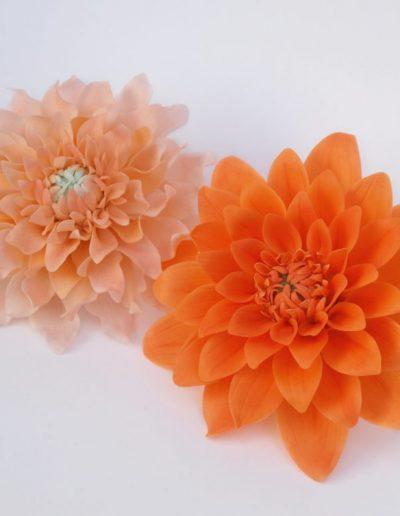fondant dahliaer i to orange farver