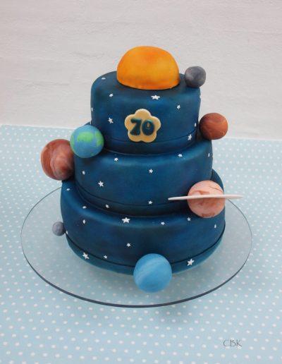 astronomi fødselsdagskage med planeter