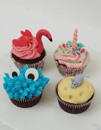 Flamingo cupcake, enhjørninge cupcake, cupcake med mus, monster cupcake