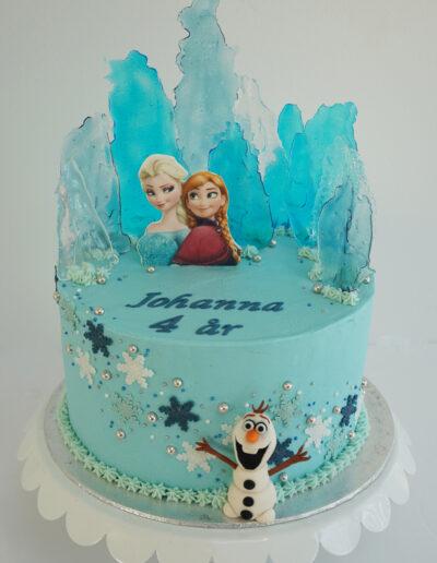 Frostkage med Olaf, Elsa og Anna